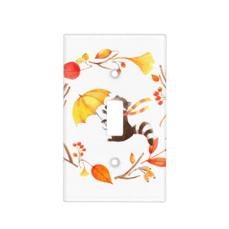Cute Little Raccoon With Umbrella in Leafy Wreath Light Switch Cover