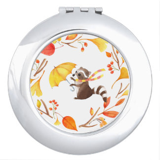 Cute Little Raccoon With Umbrella in Leafy Wreath Makeup Mirror