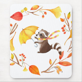 Cute Little Raccoon With Umbrella in Leafy Wreath Mouse Pad