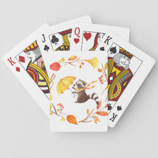 Cute Little Raccoon With Umbrella in Leafy Wreath Playing Cards