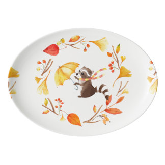 Cute Little Raccoon With Umbrella in Leafy Wreath Porcelain Serving Platter