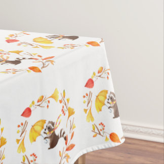 Cute Little Raccoon With Umbrella in Leafy Wreath Tablecloth