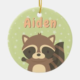 Cute Little Raccoon Woodland Kids Ornament