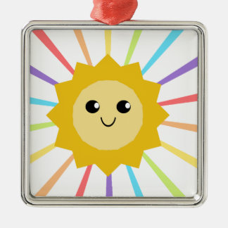 Cute Little Rainbow Sunshine Silver-Colored Square Ornament