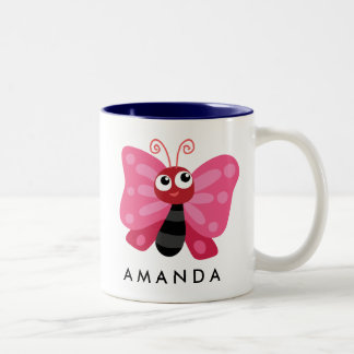 Cute Little Red Butterfly Personalized Two-Tone Coffee Mug