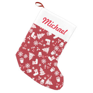 Cute Little Red Christmas Pattern Small Christmas Stocking