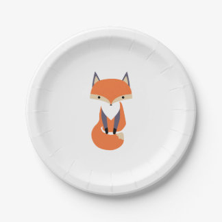 Cute Little Red Fox Illustration Paper Plate