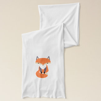 Cute Little Red Fox Illustration Scarf
