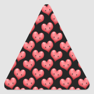 Cute Little Red Hearts on Black Triangle Sticker