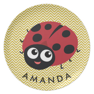Cute Little Red Ladybug Personalized Plate