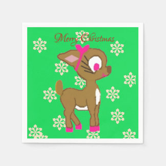 Cute Little Reindeer Merry Christmas Napkins Paper Napkin