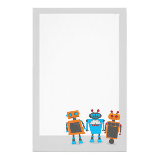 Cute Little Robots Custom Stationery