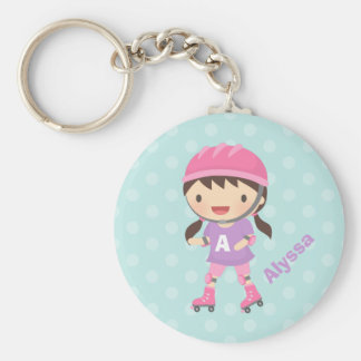 Cute Little Roller Skater Girl For Girls Keychain