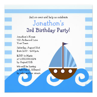 Cute Little Sailboat Blue Birthday Invite 5 25