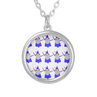 Cute little Santas blue Silver Plated Necklace
