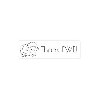 Cute Little Sheep Thank Ewe (You) Self-inking Stamp
