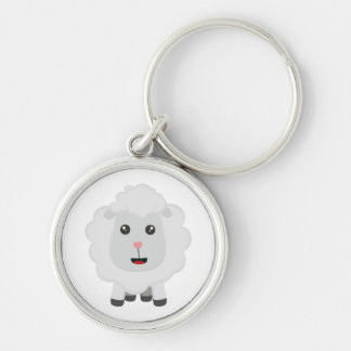 Cute little sheep Z9ny3 Silver-Colored Round Keychain