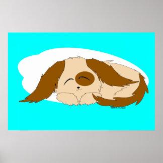 Cute Little Sleepy Puppy Dog Poster