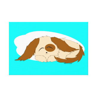 Cute Little Sleepy Puppy Dog Wrapped Canvas