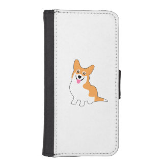 Cute Little Smiling Corgie Puppy iPhone 5 Wallets