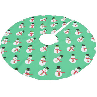 Cute little snowman brushed polyester tree skirt