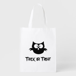 Cute Little Spooky Black Halloween Owl Reusable Grocery Bag