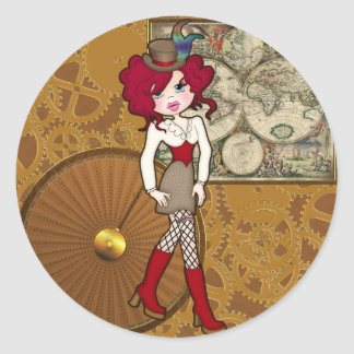 Cute Little Steampunk Lady with Curly Red Hair Classic Round Sticker