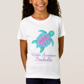 Cute little swimmer girls pink aqua turtle t-shirt
