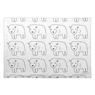 Cute little teddies on white placemat
