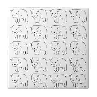 Cute little teddies on white tile