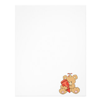 cute little teddy bear with red crayon customized letterhead