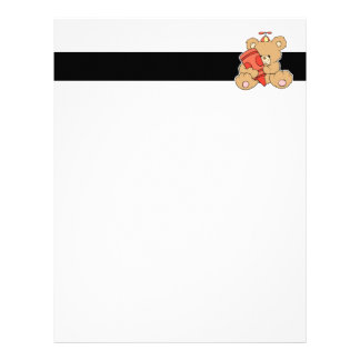 cute little teddy bear with red crayon letterhead template