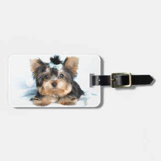 Cute Little Tiny Yorkie Pup design Luggage Tag