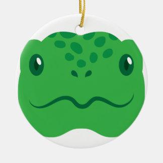 cute little tortoise turtle face round ceramic ornament