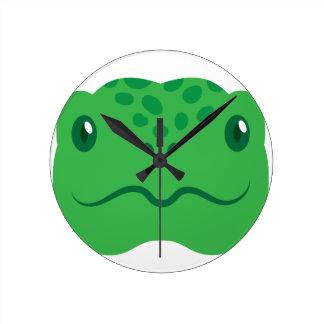 cute little tortoise turtle face round clock