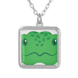 cute little tortoise turtle face silver plated necklace