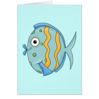 Cute Little Tropical Ocean Fish Cartoon Character Card