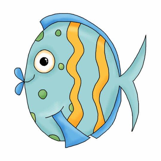 Cute Little Tropical Ocean Fish Cartoon Character Standing Photo Sculpture