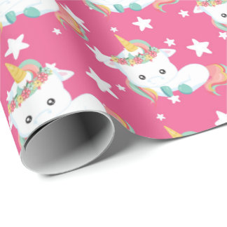 Cute little unicorn and stars tiled party wrap