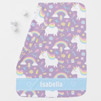 Cute Little Unicorn Baby Girl Personalized Blanket Swaddle Blanket