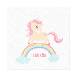 Cute Little Unicorn on Rainbow Girls Wall Decor
