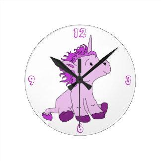 Cute Little Unicorn with Pink Violet mane Clocks