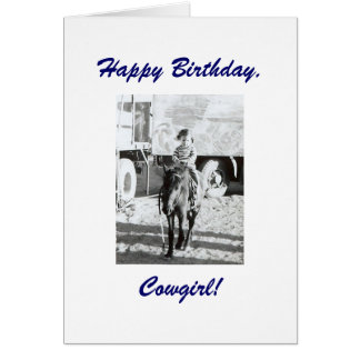 Cute Little Vintage Cowgirl & Pony Birthday Wishes Card