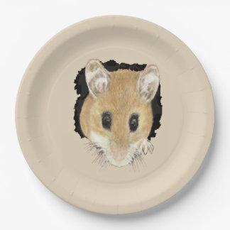 Cute Little Watercolor Pet Pocket Mouse Animal Art Paper Plate