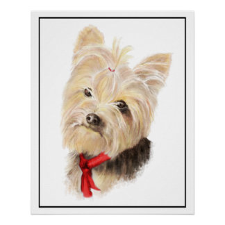 Cute Little Watercolor Yorkie Yorkshire Terrier Poster