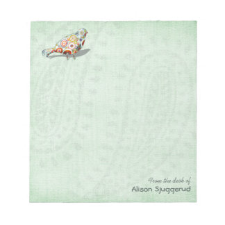 Cute Little Whimsical Bird Paisley Green Custom Notepad