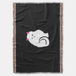 Cute Little White and Fluffy Kitty Cat Throw