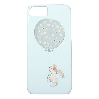 Cute Little White Bunny Holding a Blue Balloon iPhone 8/7 Case