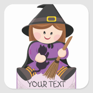 Cute little witch with broewn hair square sticker