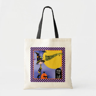 Cute Little Witch With Pumpkin Cat and Spider Tote Bag